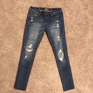 BKE Black distressed skinny jeans